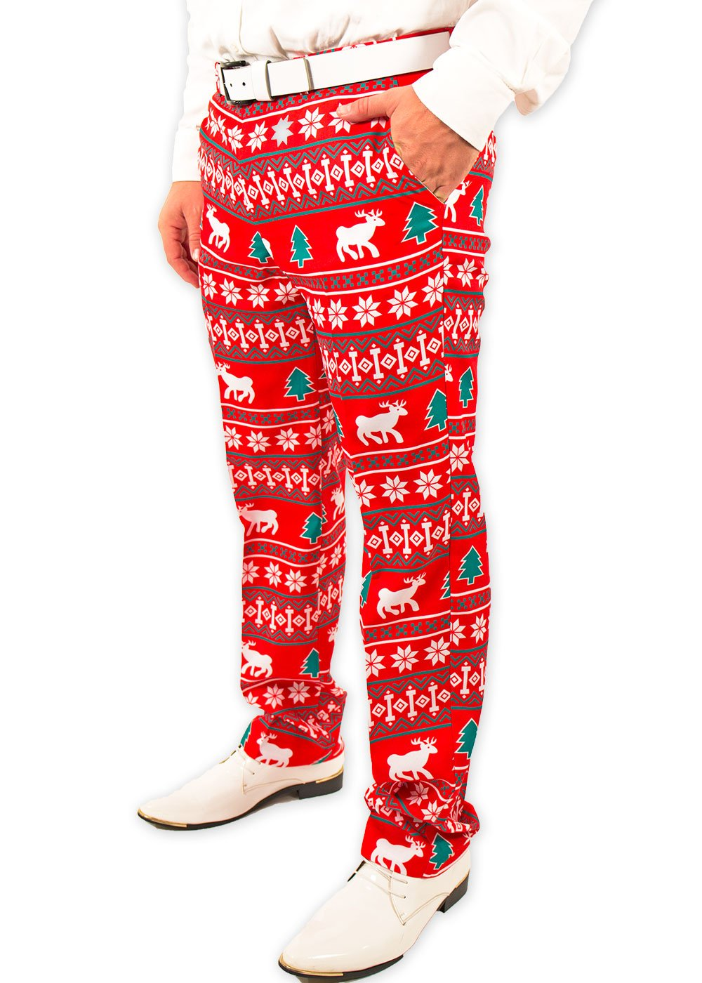 Festified Men's Holiday Reindeer Christmas Pants in Red (44) by Festified