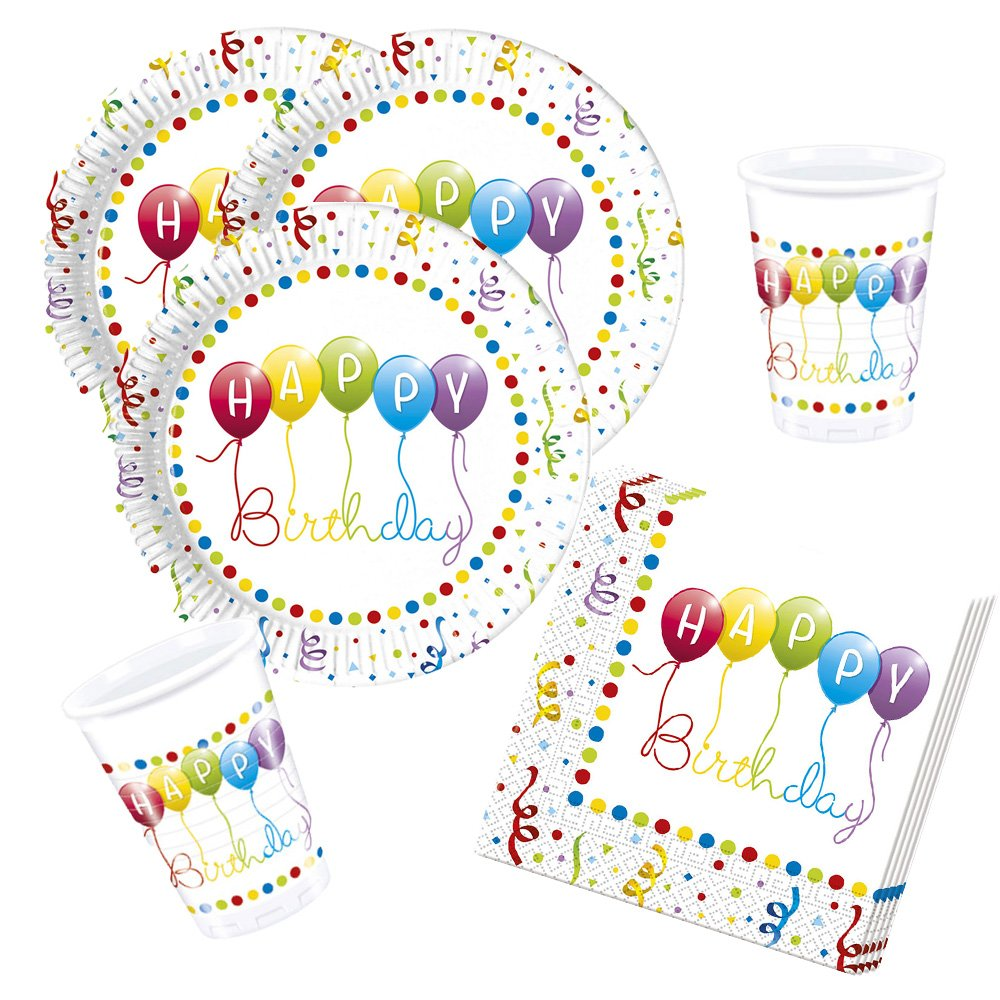 Happy Birthday Streamers Party Set Cups Plates NapkinsServiettes ...