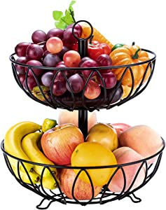 Fruit Stand Vegetables Basket Counter Top Fruit Basket Bowl Storage Black Cast Iron (2-Tier)