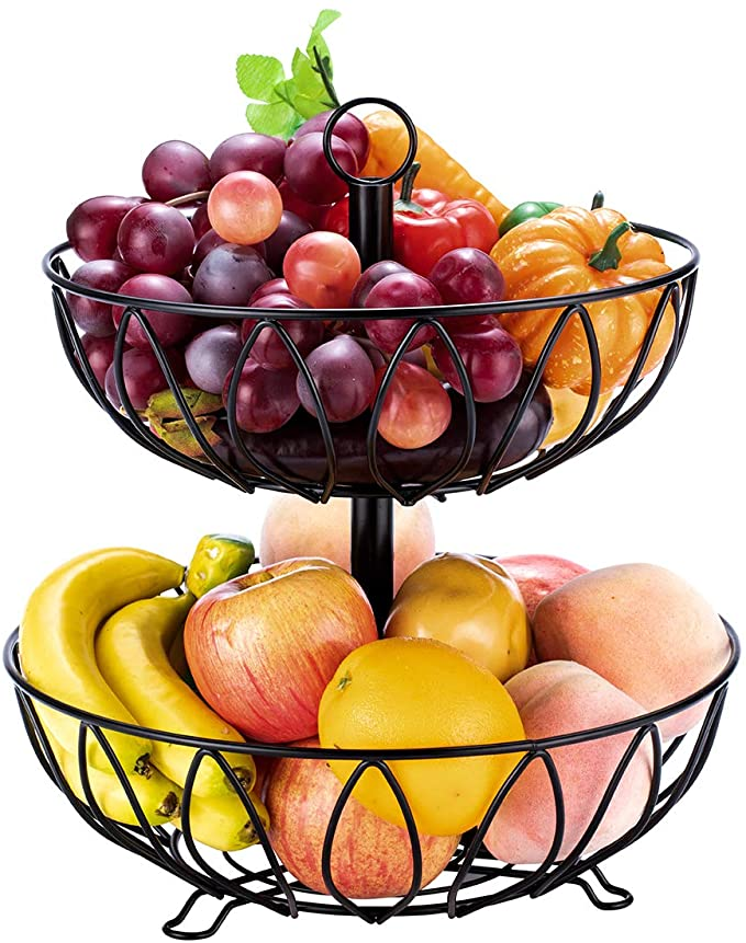 2 Layers Fruit Storage Basket Storage Basket Sundries Container For Kitchen