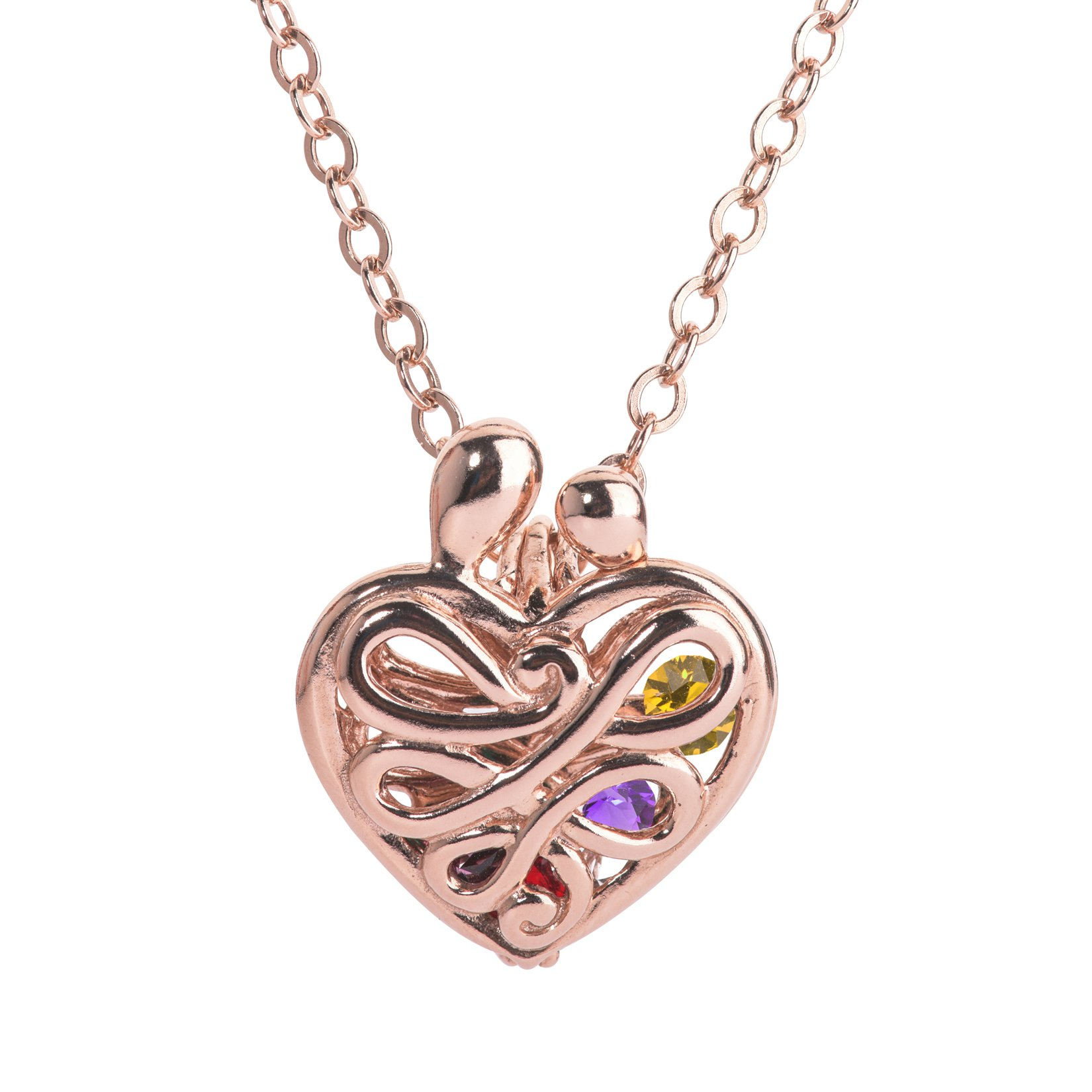 Loving Family Rose Gold Plated Sterling Silver Large Heart Locket with 12 Birthstones