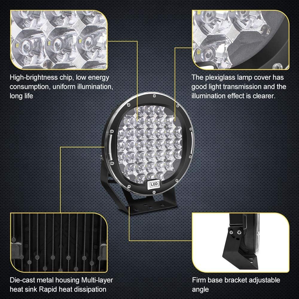 2 Jahre Garantie LED Pod Lichtleiste 9 Safego 2Pcs 185W 14800Lm Wasserdichte runde Arbeitslichtleiste Spot Beam Offroad Licht Driving Nebelscheinwerfer Dach Lichtleiste f/ür SUV Boot 4x4 J-eep