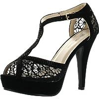 Top Moda Hy-5 Open Toe Crochet High Heel Sandals