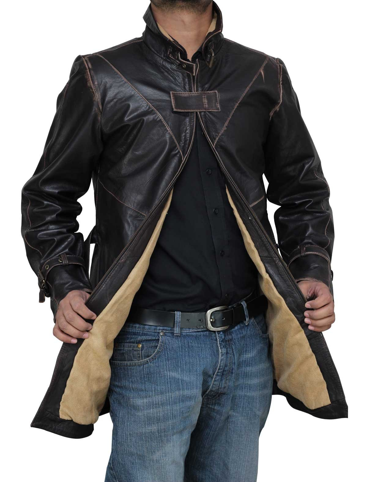 Mens WD Belted Distressed Brown Real Leather Winter Long Trench Coat - L