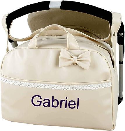Bolso Polipiel Personalizado Carrito bebe Maternal. Color Beige + regalo de un babero- Danielstore