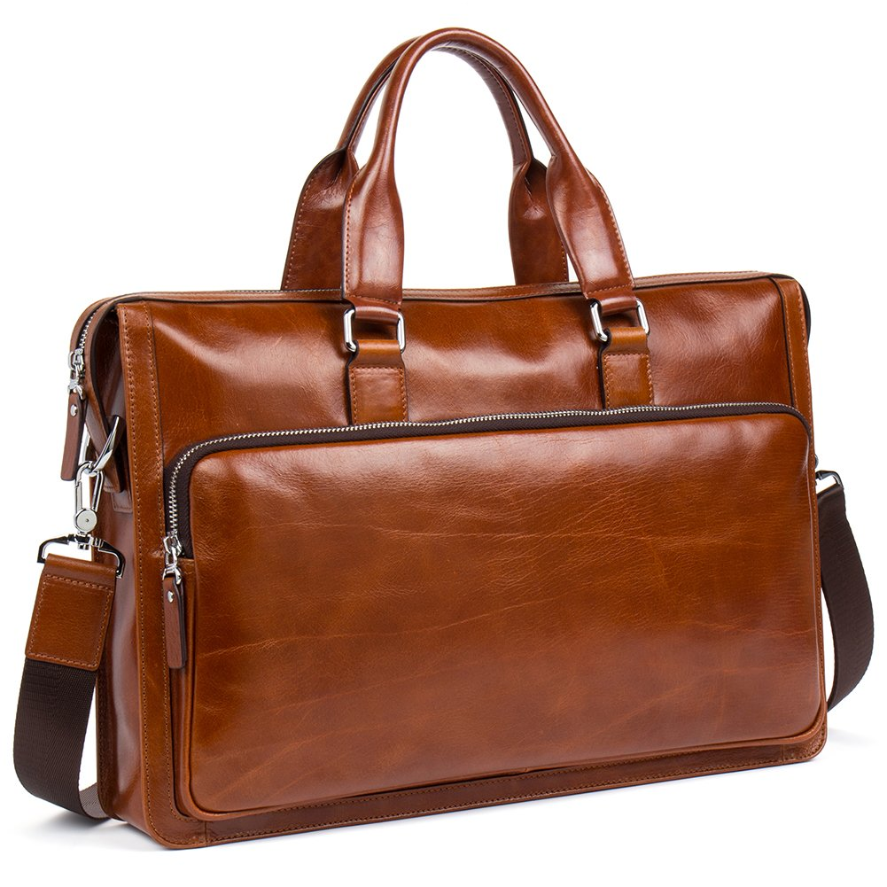 MANTOBRUCE Men Briefcase Leather Vintage Simple Messenger Bag Office Handbag 15'' Laptop Bag Brown