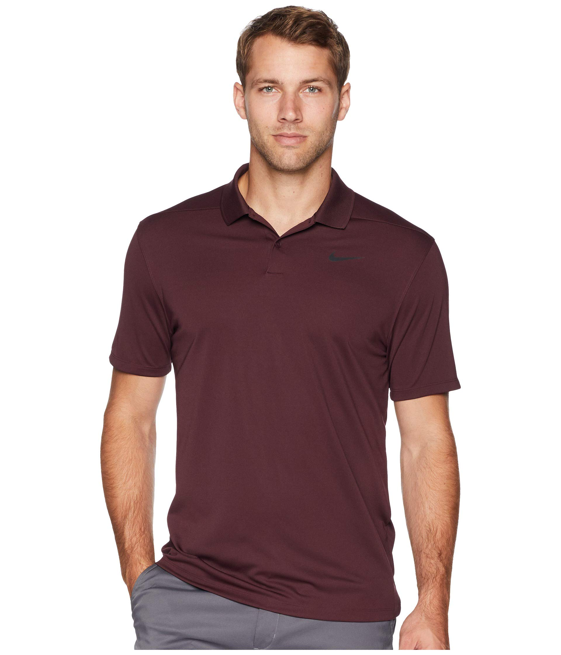 Nike Dri Fit Victory Solid LC Golf Polo 2019 Burgundy Crush/Black Small
