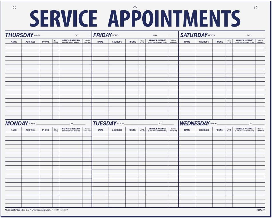 Service Appointment Record - Large Pad