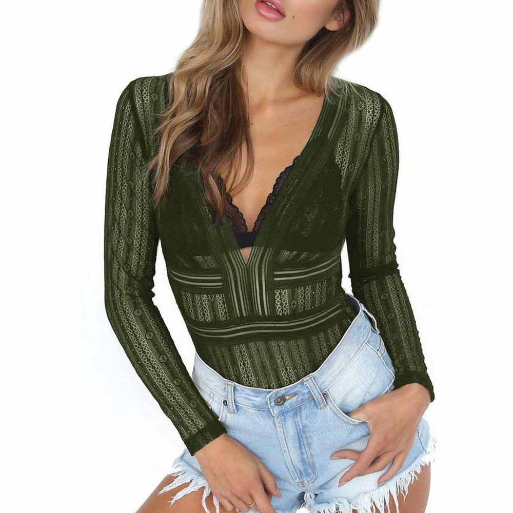 Nevera Women Long Sleeve Lace V Neck Bodysuit Solid Stretchy Romper Jumpsuit Tops Army Green