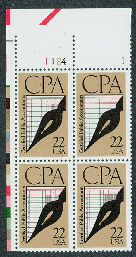 CPA Plate Block Of 4 X 22 Cent US Postage Stamps MINT NH Scott 2361 Accountants