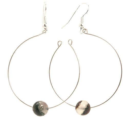 534f3d2997337 Amazon.com: Moss Agate Earrings 01 - Open Hoop Silver Round Stone ...