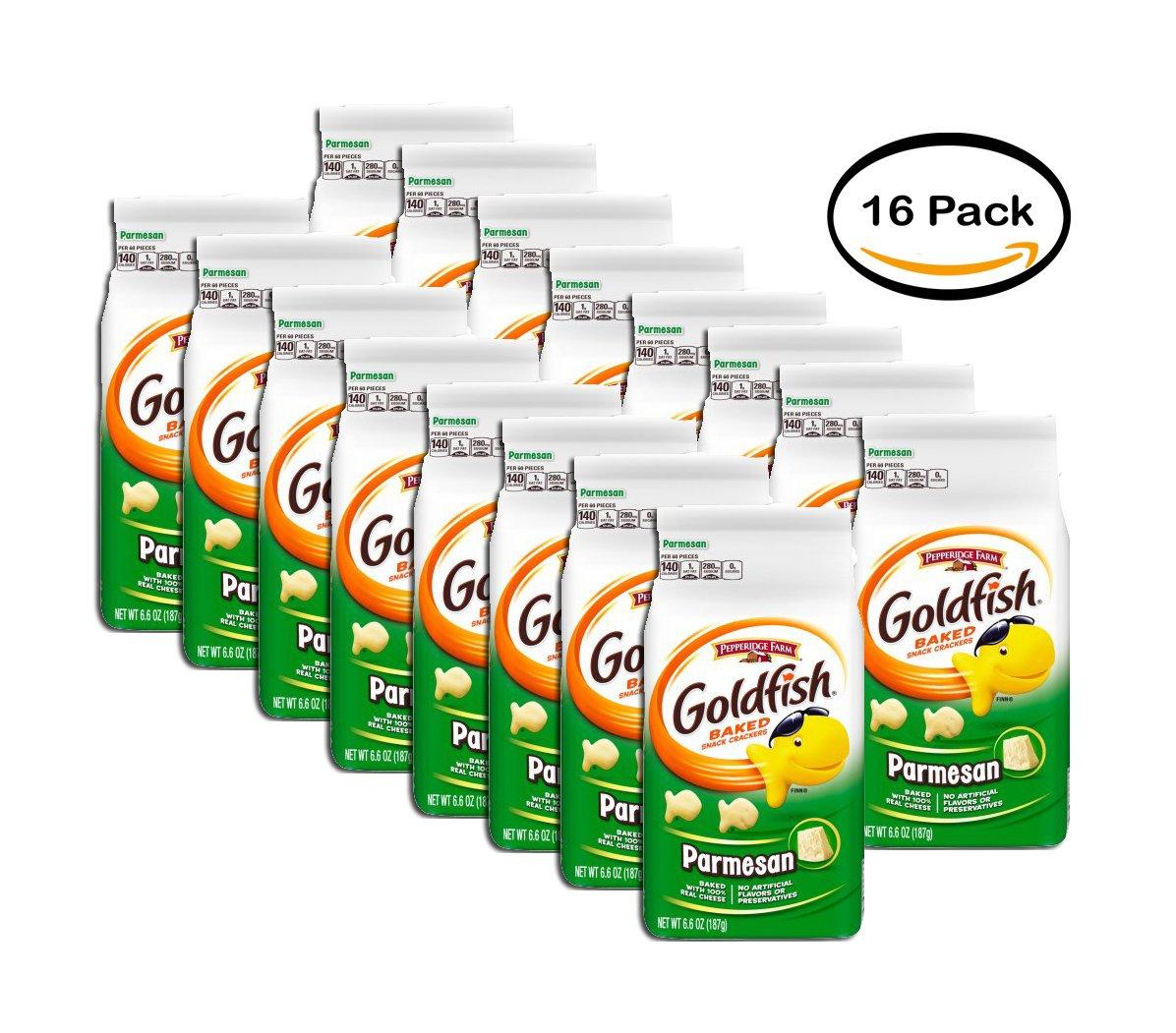 PACK OF 16 - Pepperidge Farm Goldfish Parmesan Baked Snack Crackers 6.6 oz. Bag
