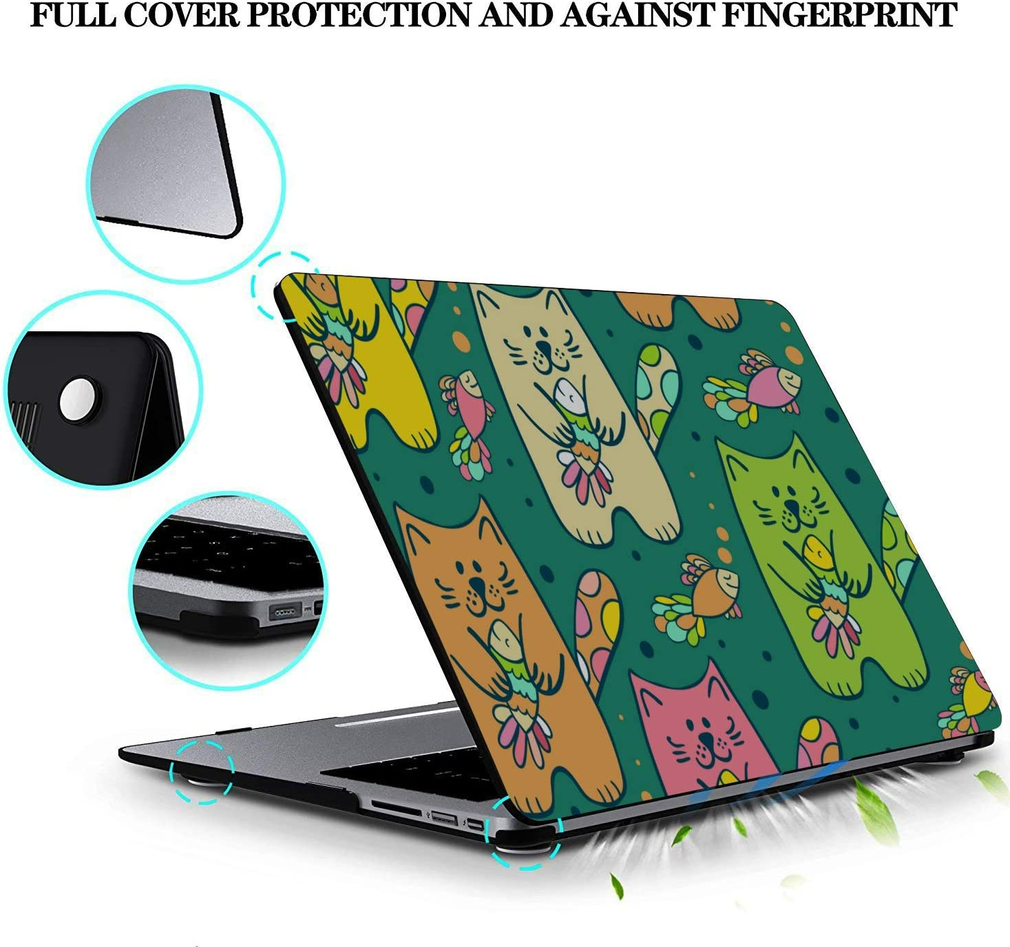 Air Case Cat Eating Fish Simple Plastic Hard Shell Compatible Mac Air 11 Pro 13 15 MacBook Pro Case 2018 Protection for MacBook 2016-2019 Version
