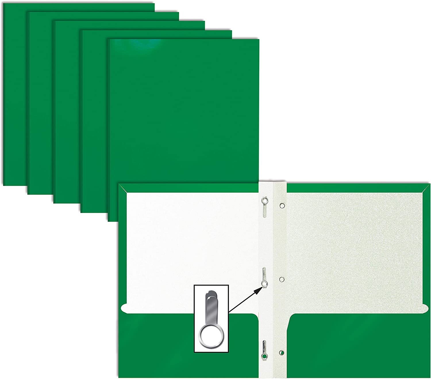 2 Pocket Glossy Green Paper Folders with Prongs, 25 Pack, by Better Office Products, Letter Size, High Gloss Green Paper Portfolios with 3 Metal Prong Fasteners, Box of 25 Glossy Green Folders