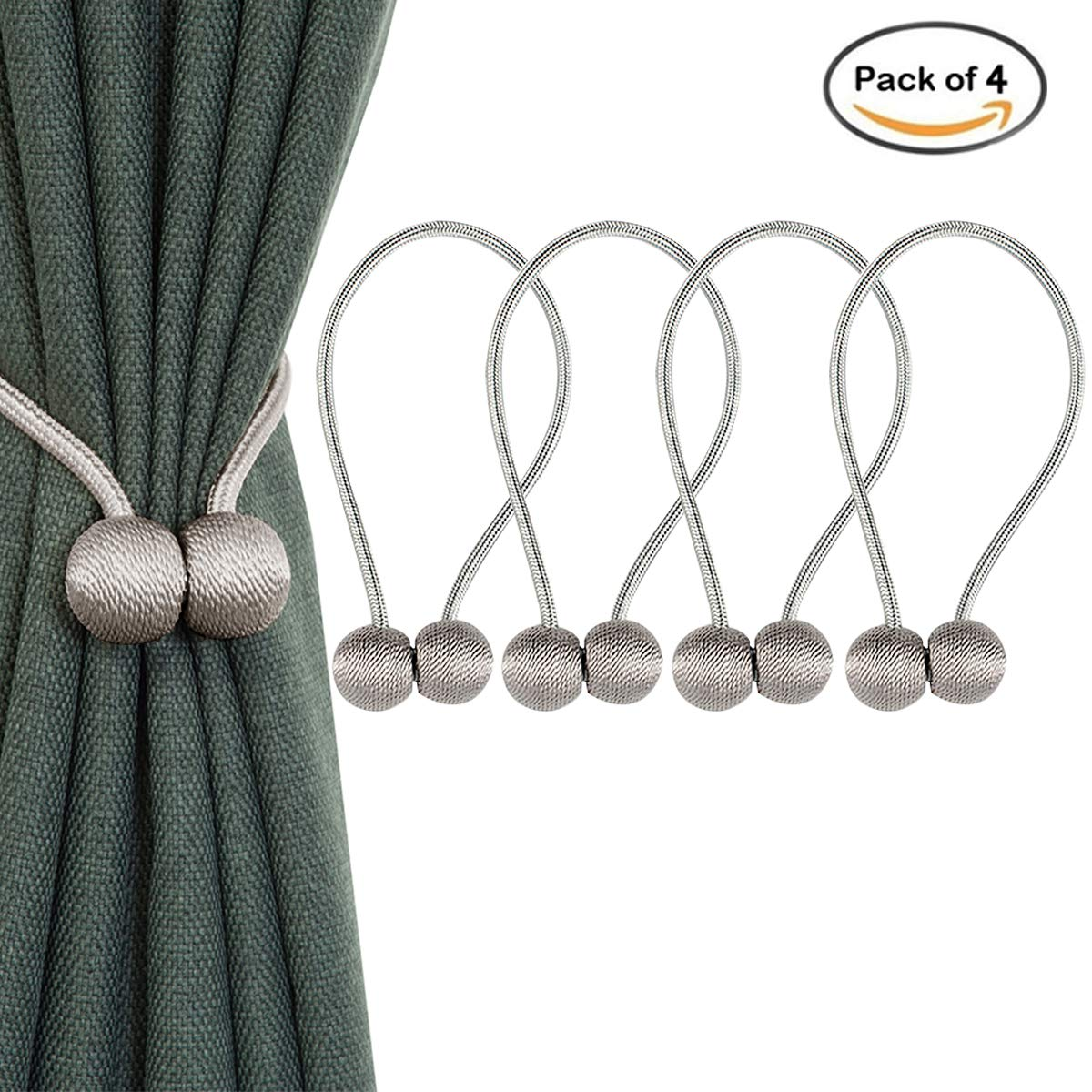 ApisNest Magnetic Curtain Tiebacks Clips Classic European Window Treatment Holdbacks Home Office Decorative Drapes Holders Buckle With Strong Magnetic For Home Décor Clasp (Grey)