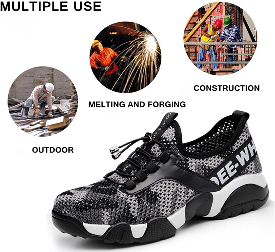 Jeapeer Women Uniform Steel Toe Shoes,Puncture Proof Safety Sneakers for Women,Lightweight Industrial /& Construction Hiking Sneakers