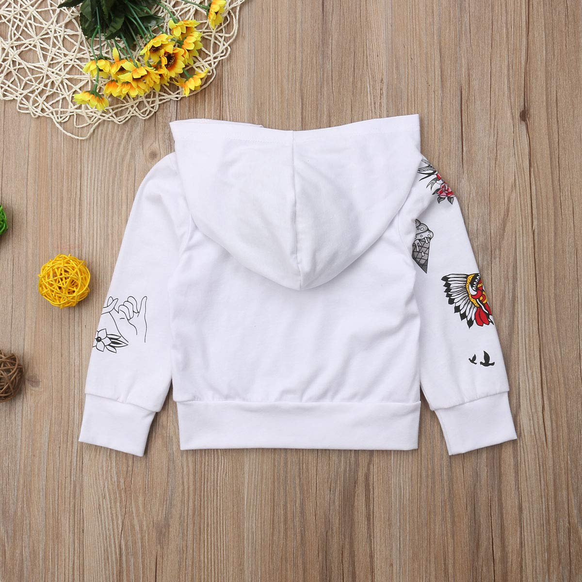 Pybcvrrd Toddler Unisex-Baby 0-5T Hooded Sweater Casual Hoodies with Pocket Long Sleeve Sweatshirt