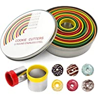 JY 12 PCS Round Cookie Biscuit Cutter Set, Stainless Steel Cookie Cutter Set, Pastry Cutters in Graduated Sizes for Donut and Scone, Circle Cutter Cake Ring Molds (Multicolor)