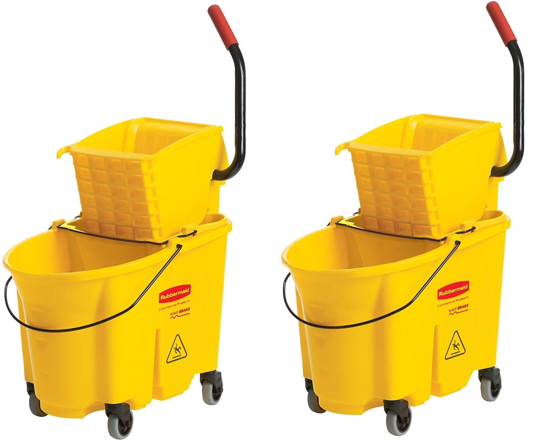 Rubbermaid Commercial FG758088YEL WaveBreak Side Press Combo (2 Bucket's)