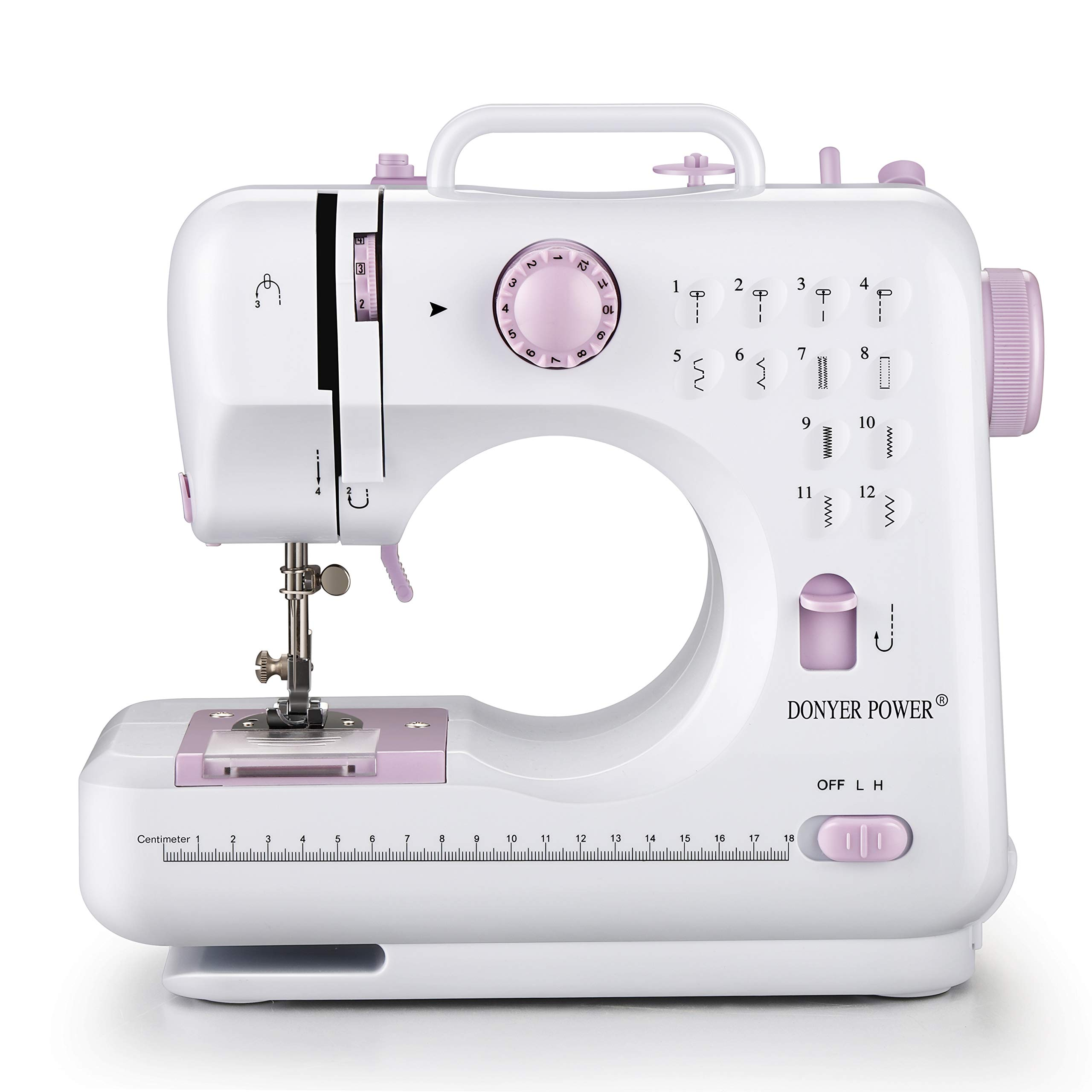 DONYER POWER Electric Sewing Machine Portable Mini with 12 Built-in Stitches, 2 Speeds Double Thread, Embroidery,Foot Pedal by DONYER POWER