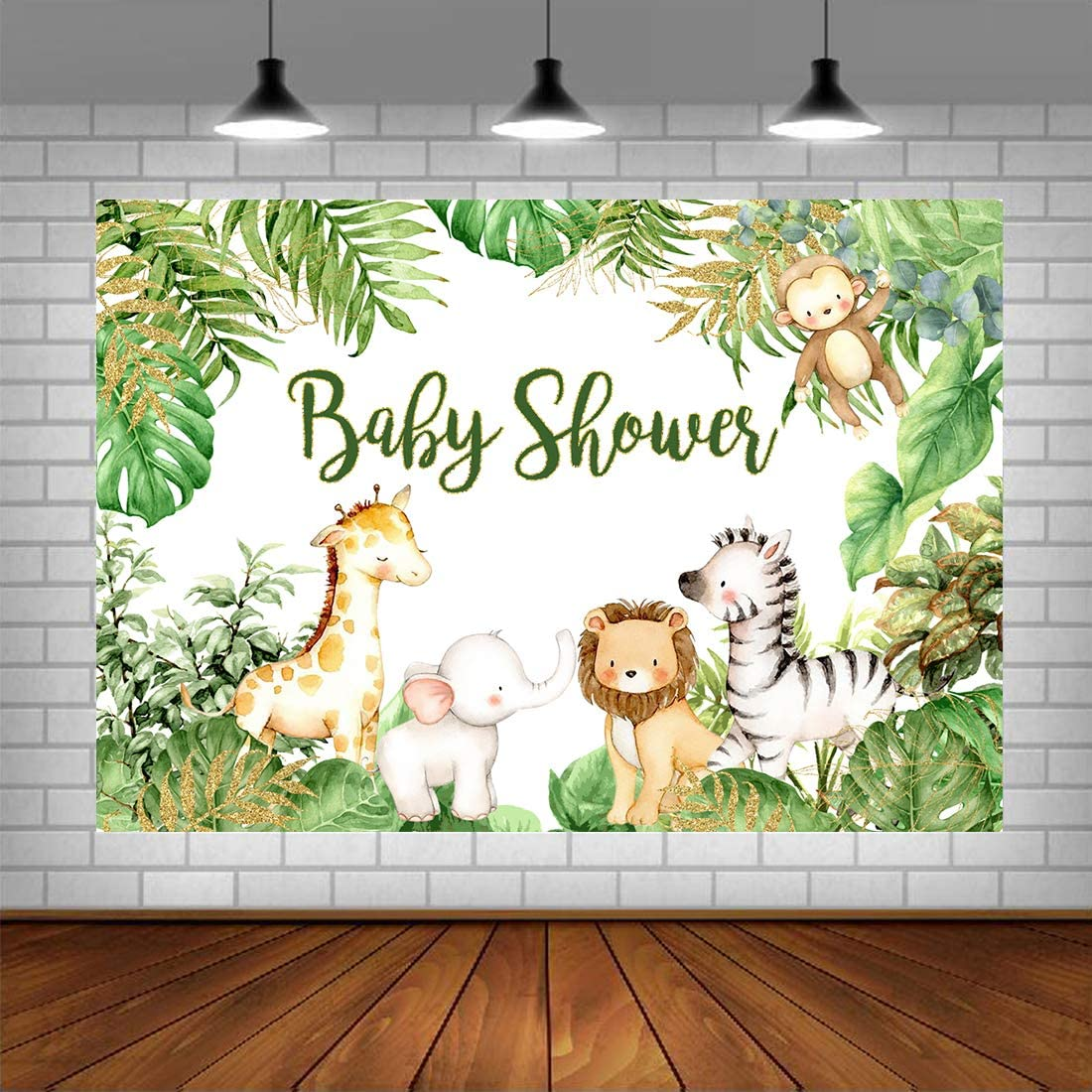 Safari Animals Baby Shower Photogarphy Backdrop Jungle Baby Shower Background Safari Baby Shower Party Banner Decorations for Boy Photo Studio Props 5x3ft