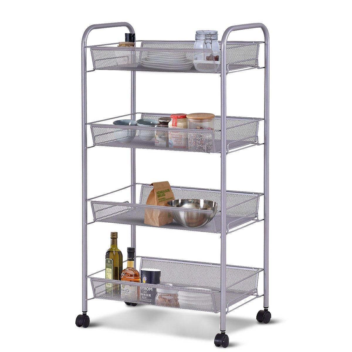 Giantex Storage Rack Trolley Cart Home Kitchen Organizer Utility Baskets (4 Tier, Silver)