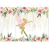 Funnytree 7x5FT Floral Fairy Birthday Party Backdrop for Photography Pink and Gold Fairy Tale Tea Flowers Wonderland…