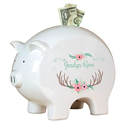Personalized Floral Antler Piggy Bank : Baby
