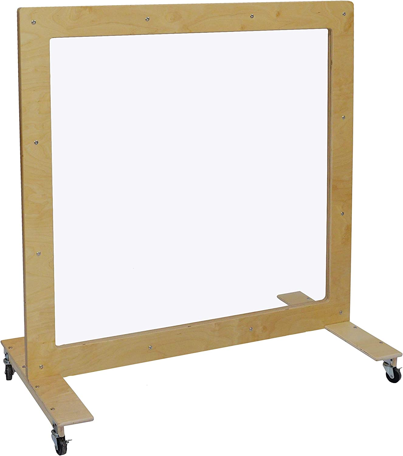 """Wood Designs Mobile See-Thru Room Divider 48""""H x 48""""W, Scratch & Shatter Resistant Clear Partition, Can be Used as Dry Erase Board for Office, School & Home"""