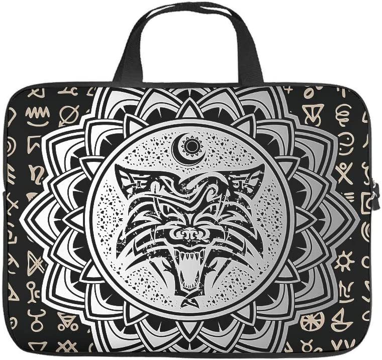 Customized Laptop Sleeve Viking Wolf Symbol Full Printed Laptop Bag Scratch Resistant Neoprene Laptop Computer Bag Compatible with Tablet White 13inch