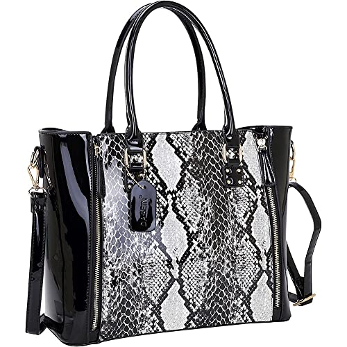 57cbb99ce9fa Dasein Patent Faux Leather Zipper Sides with Snakeskin Detail Satchel  (Black)