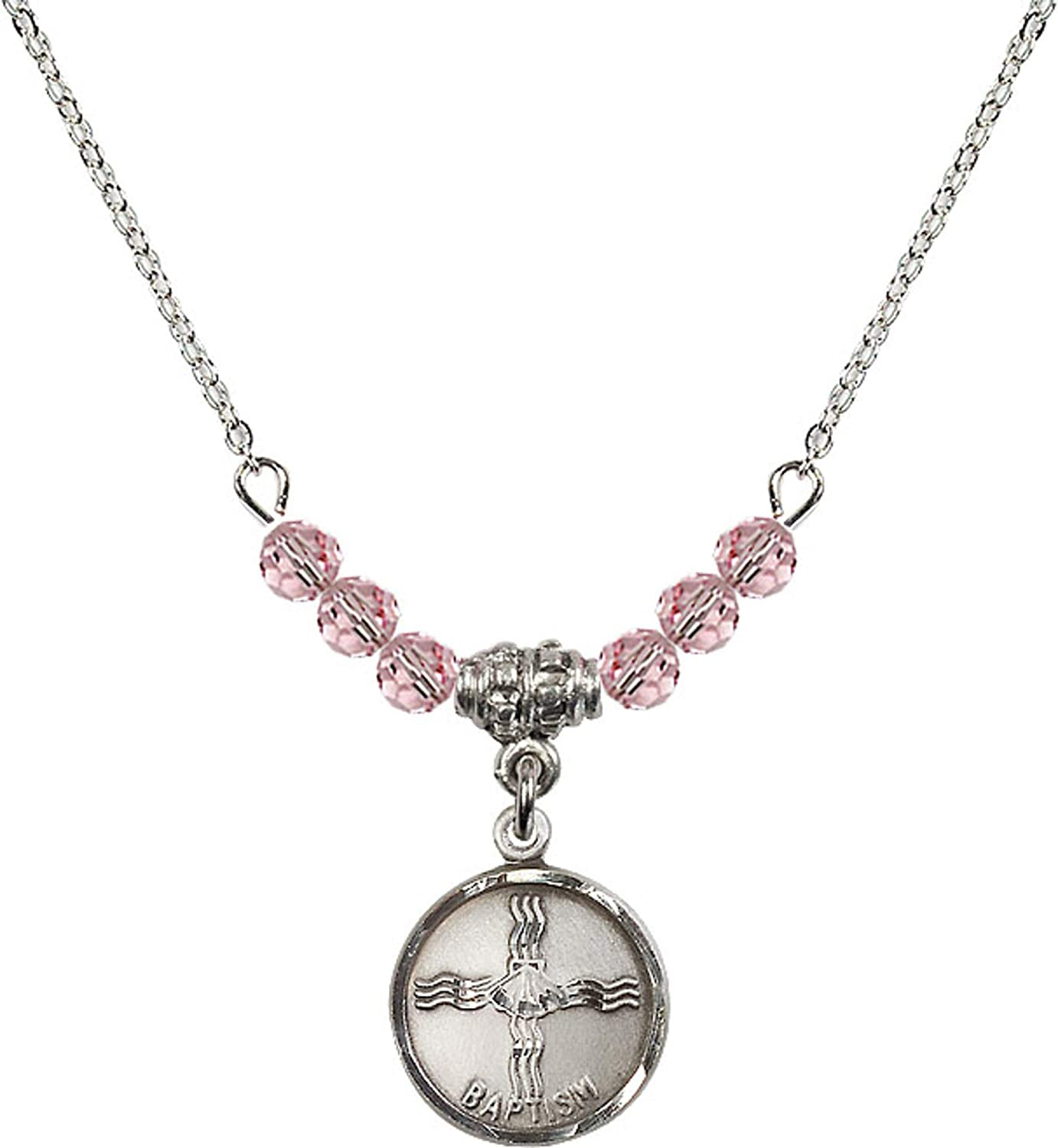Bonyak Jewelry 18 Inch Rhodium Plated Necklace w// 4mm Light Rose Pink October Birth Month Stone Beads and Baptism Charm