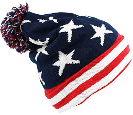 b988ce9b059a40 Image Unavailable. Image not available for. Color: bogo Brands American  Flag Knit Beanie with Pom-Pom ...