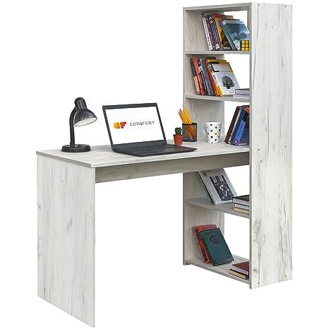 COMIFORT Escritorio con Estanteria Reversible, Mesa de Ordenador, 120x52x72/144 cm (Kraft)
