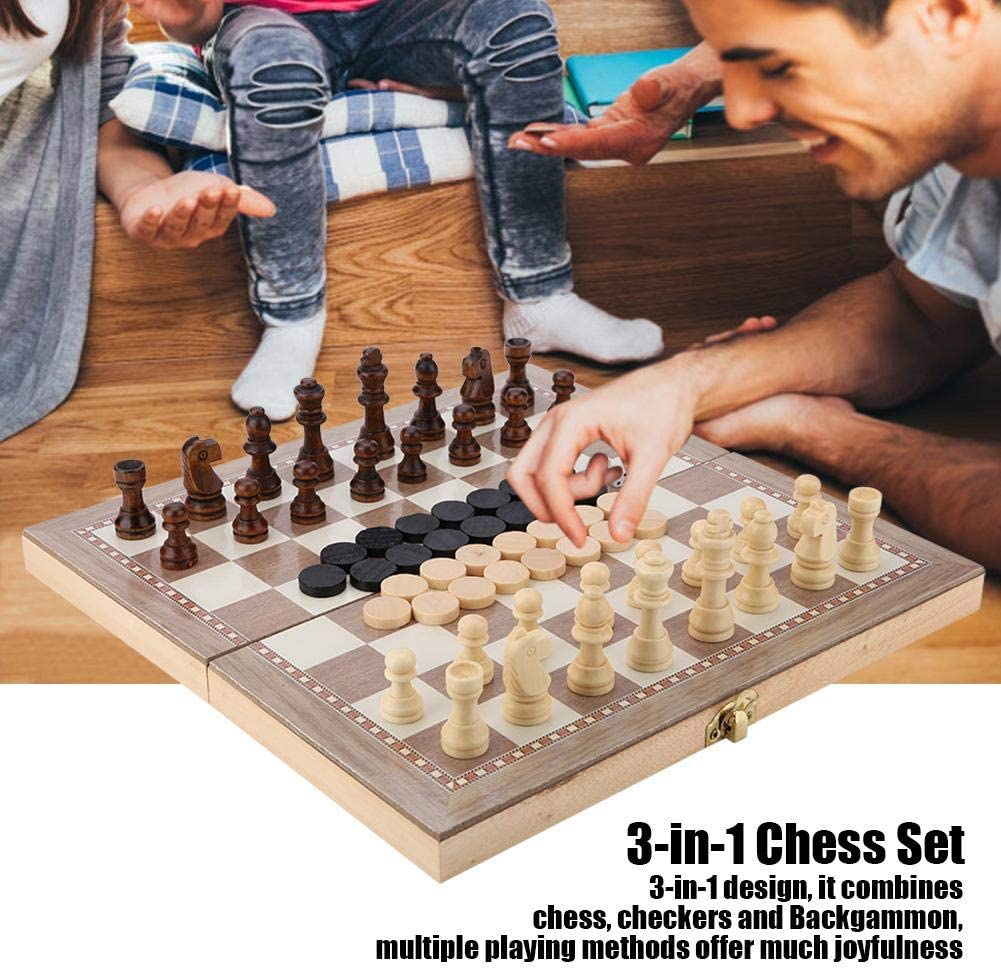 Portable Travel Tabletop Game Toy 3-in-1 Chess /& Checkers /& Backgammon Folding Chess Board Game Sets Wooden Chess Set