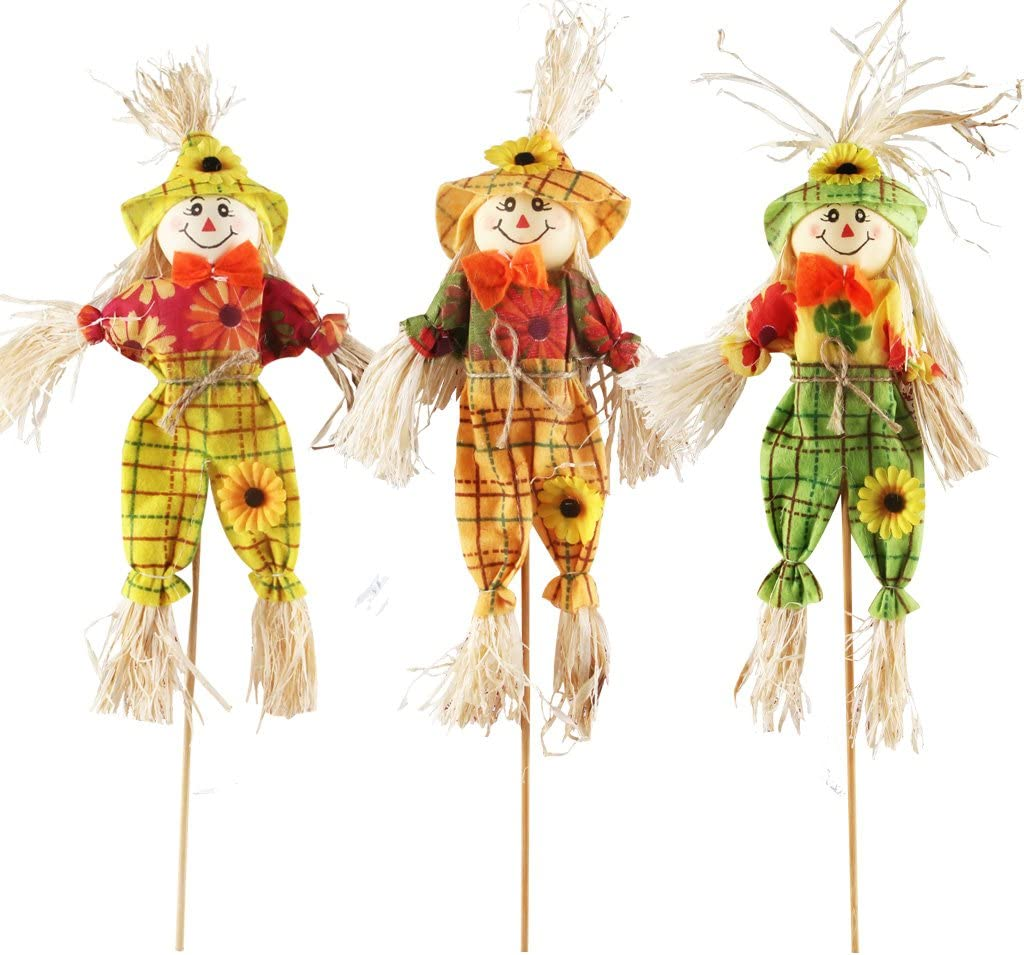 IFOYO Small Fall Harvest Scarecrow Decor, 3 Pack Happy Halloween Decorations 15.75 Inch Scarecrow Halloween Decoration for Garden, Home, Yard, Porch, Thanksgiving Decor