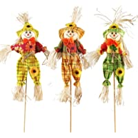 IFOYO Small Fall Harvest Scarecrow Decor, 3 Pack Happy Halloween Decorations 15.75 Inch Scarecrow Halloween Decoration…