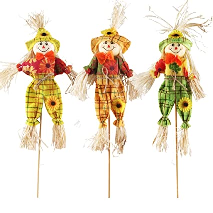 ifoyo small fall harvest scarecrow decor 3 pack happy halloween decorations 1575 inch scarecrow halloween
