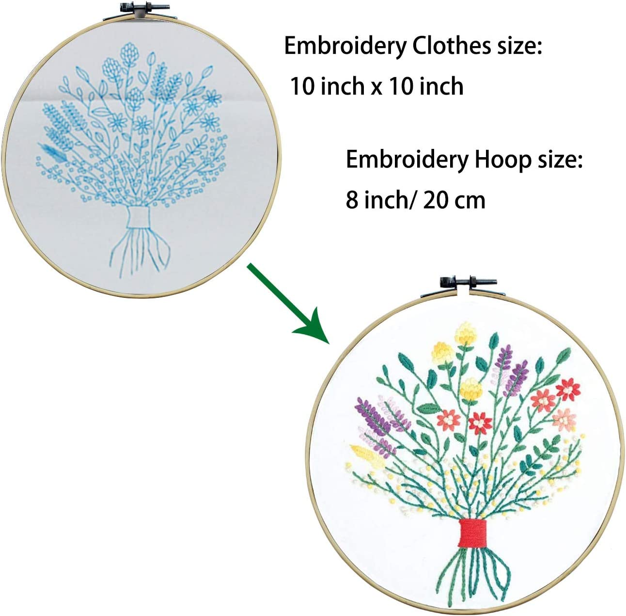Color Threads Tools Ourart 3 Pack Embroidery Starter Kit with Pattern Bamboo Embroidery Hoop