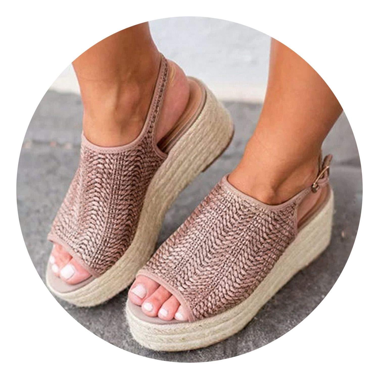 better-caress Giator Wedges Comfort Peep Toe Buckle Women Sandals Beach ies Sandal Flat Shoes Plat Plus 43,Khaki,7.5