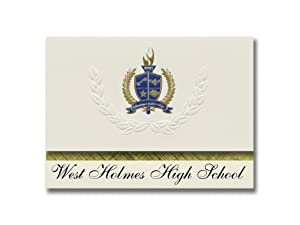 Signature Announcements West Holmes High School (Millersburg, OH) Graduation Announcements, Presidential style, Elite package of 25 with Gold & Blue Metallic Foil seal