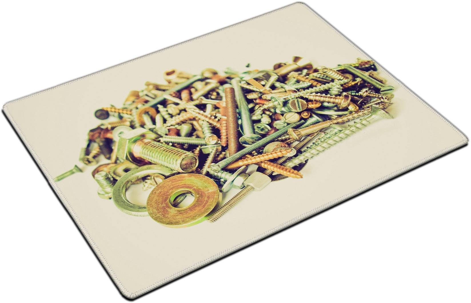 MSD Placemat Non-Slip Natural Rubber Desk Pads Place-mats Design 27182500 Vintage Looking Industrial Steel Hardware Bolts Nuts Screws