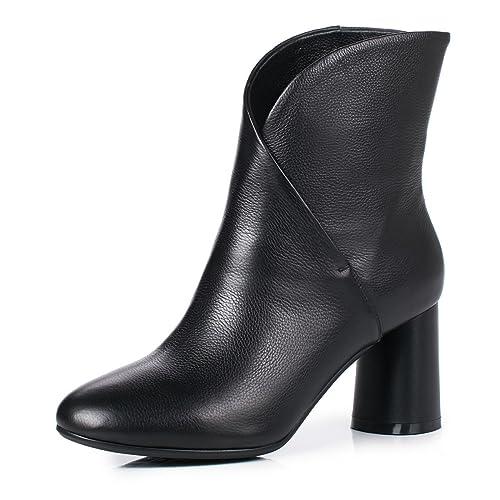 low priced 864c1 f4bbb ANNIESHOE Leder Stiefeletten Damen mit Blockabsatz Ankle Boots Herbst