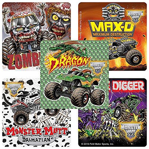 SmileMakers Monster Jam Fan Favorites Stickers - Prizes 100 Per Pack -