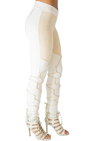 6a696bdff1a Poetic Justice Curvy Women s Ivory Ponte Lace Up Tan Faux Suede Trim Pants  Size S
