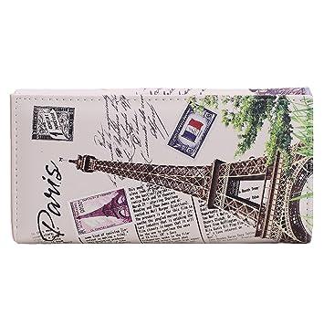 ZXKEE Carteras mujer Pu Cuero Torre Eiffel Sello Diseño Tarjeteros Carteras Monederos: Amazon.es: Equipaje