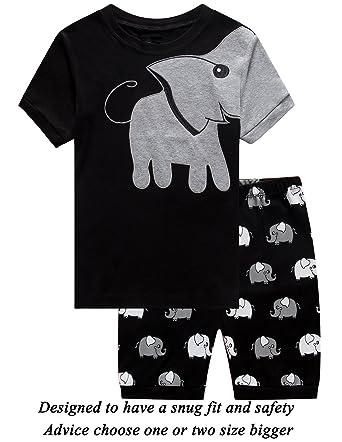 9409855c3d5 Little Boys 2 Piece Short Pajamas Elephant 100% Cotton Toddler Pjs Summer  Kids Clothes 5t