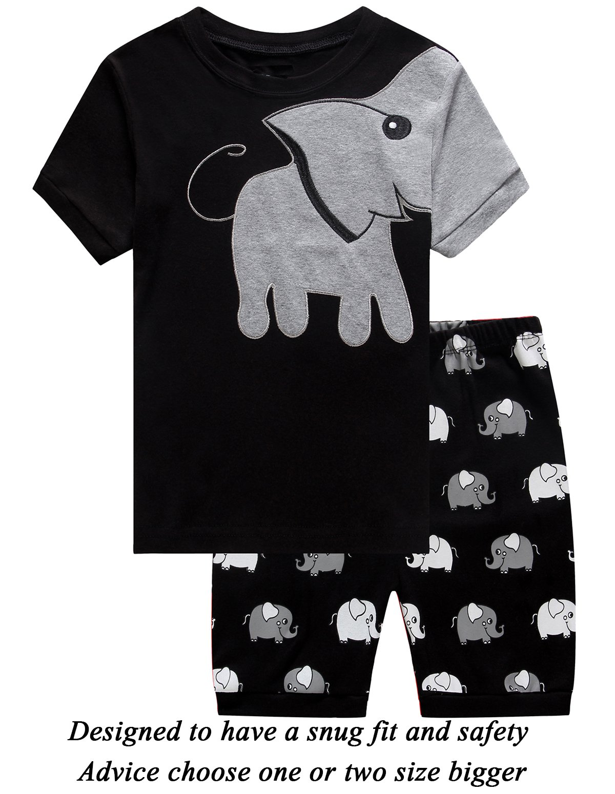 Little Boys 2 Piece Short Pajamas Elephant 100% Cotton Toddler Pjs Summer Kids Clothes 24 Months