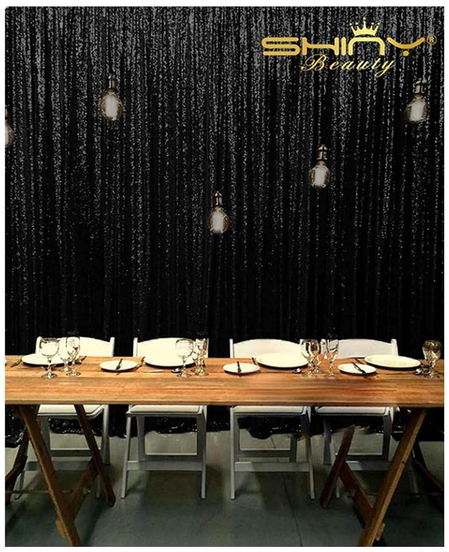 ShinyBeauty スパンコール背景カーテン 20フィートx10フィート グリッターブラックカーテン ブラックスパンコール写真背景布 Y1121 B07KR17PPL