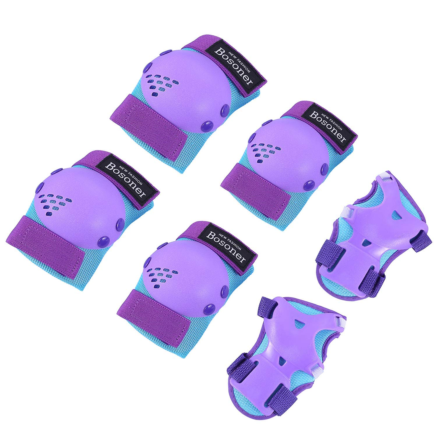 BOSONER Kids Youth Knee Pad Elbow Pads for Rollerblade Roller Skates Cycling BMX Bike Skateboard Inline Rollerblading, Skating Skatings Scooter Riding Sports